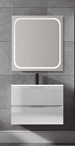 Juego de Mueble de Baño Modelo Toscana Resina, Conjunto formado por Mueble de Baño Lacado en Blanco Ancho 100cm, Lavabo de Resina y Espejo a Juego