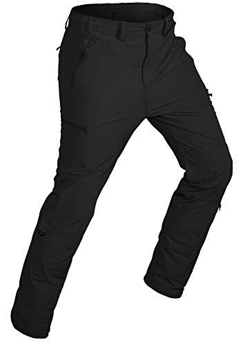 Wespornow Herren Schnelltrocknende Wanderhose Trekkinghose Outdoorhose Roll-up, Leichte Dehnbare Camping Reisekletterhose mit 5 Reißverschlusstaschen (Schwarz, Medium)