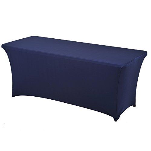 Haorui Rectangular Spandex Table Cover (6 ft. Navy Blue)