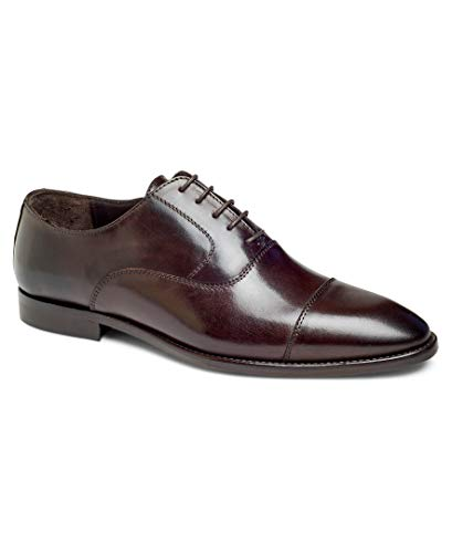 Anthony Veer Depp Men's Cap-Toe Oxford Lace-up Dress Shoes in Premium Italian Leather Blake Stitched Made in Italy for Office, Business, Causal, Special Occasion(11 D US, Mahogany)