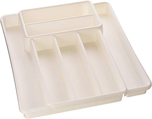 Rotho Domino, Cubertero con 7 compartimentos, Plástico PP sin BPA, blanco, 39.7 x 34.1 x 5.1 cm