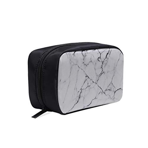 Kosmetiktasche für Damen, tragbare Kosmetiktasche aus weißem Marmor mit natürlichem...