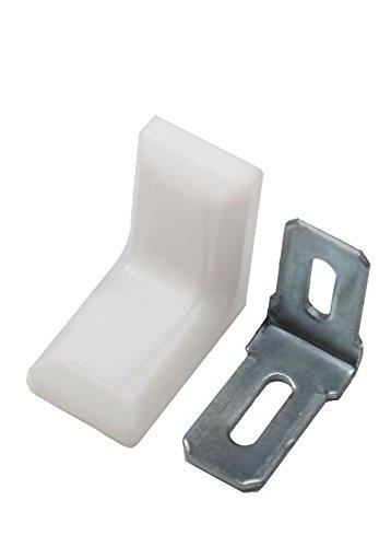 10x Stuhlwinkel 30x30x18mm mit Kunststoff Abdeckung Möbel Winkel Flachwinkel (Weiß)