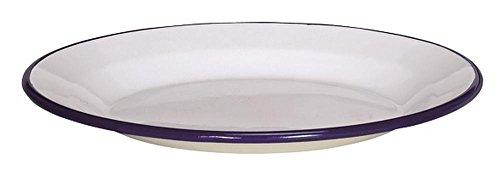 Karl Krüger 99/24B Husum 24 cm Teller flach, weiß mit blauem rand, 24 x 24 x 2,5 cm