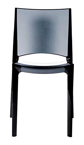 Grandsoleil Upon B-Side Transparente Chaise empilable, en Polycarbonate, Gris fumé foncé, 50 x 48 x 81.5 cm