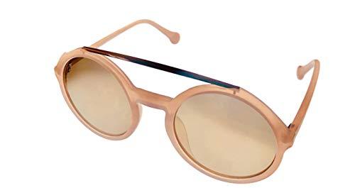 Converse para mujer rosa plástico redondo gafas de sol, lente humo H086