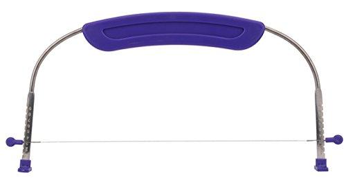 useekoo ajustable para tartas nivelador cortador cortador, acero inoxidable cables y Morado mango para horno–molde para herramientas de cocina profesional