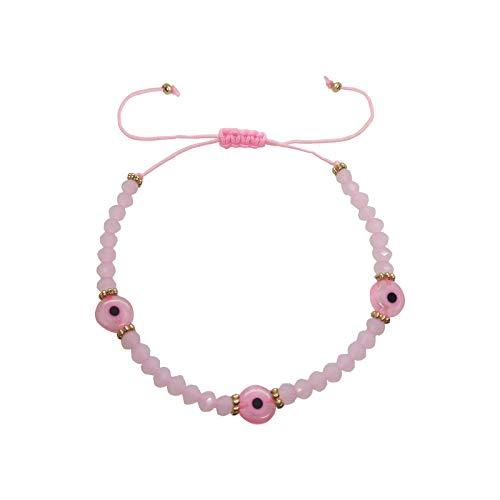 MECETA Adjustable Evil Eye Bracelet - Charm Bracelet For Women, The Great Gift For Women (Pink)