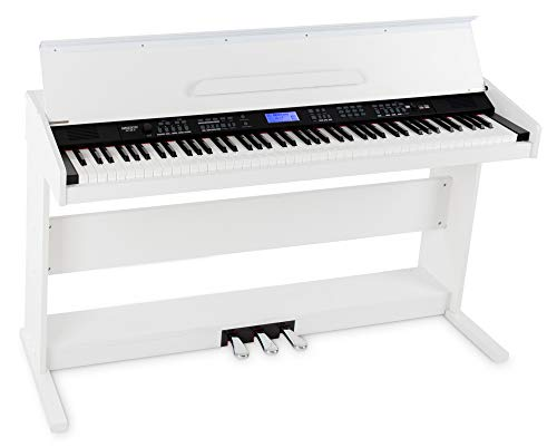 FunKey DP-88 II Digitalpiano (88 anschlagsdynamische Keyboard-Tasten, 128-fach polyphon, 360 Sounds, 160 Styles, MP3-Player, Lernfunktion, Record- & Playback-Funktion, 3 Pedale) weiß