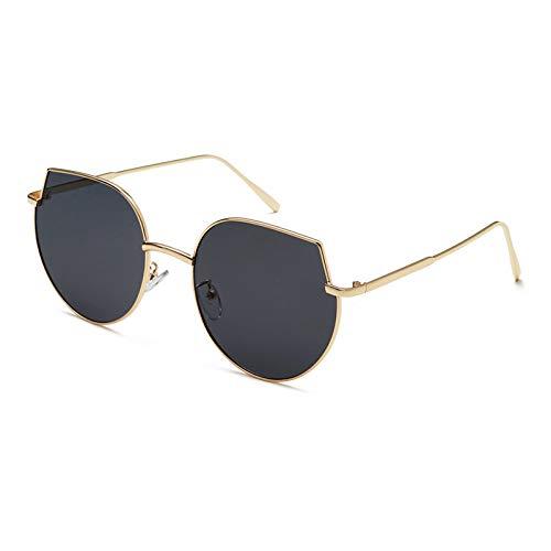QINGZHOU Gafas de Sol,Gafas de sol polarizadas irregulares de ojo de gato, gafas de sol para mujer, marco dorado, película negra y gris (polarizada)