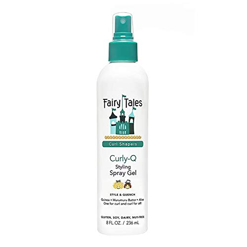 Fairy Tales Curly-Q (Curly Hair Gel) Daily Kid Styling Spray Gel - For Curly Hair - Paraben Free, Sulfate Free, Gluten Free, Nut Free - 8oz