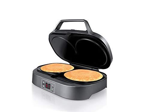 Flama Máquina de Tortitas, Crepes o Pancakes 4902FL, 1300W, 2 cavidades, Superficie Antiadherente, Panel de Control Digita, Almacenamiento Vertical, Sistema de Bloqueo e Indicadores Luminosos, Negro