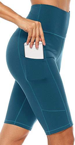 Anwell Kurzhose Damen Sport Sommer High Waist Training elastische Yogahose eng elegant mit Taschen Dunkelgrün XL