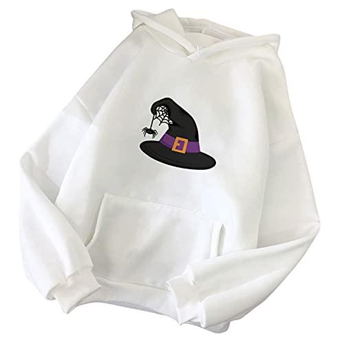 Wave166 Sudadera con capucha para mujer, de tamaño grande, con estampado de gorro de Navidad, monocolor, con capucha, de manga larga, cuello redondo, Blanco, XL