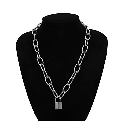 LPZW Vintage Lock Pendant Necklace for Women Fashion Lasso Chunky Clavicle Chain Choker Necklace Statement Female Jewelry Gift (Metal Color : Silver)