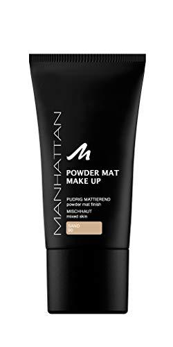 Manhattan Powder Mat Make-up, Mattierendes Puder und Foundation in einem, Farbe Sand 80, 1 x 30ml