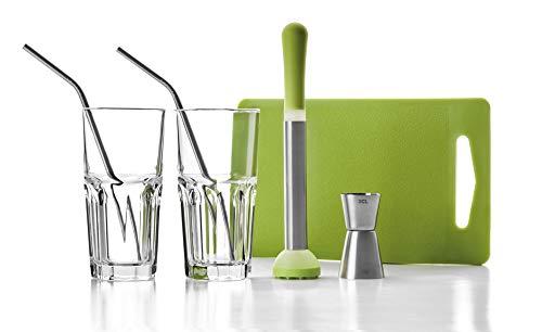 IBILI 798000– Kit de Mojito Inoxidable/Cristal Claro/Verde 26x 10x 18cm