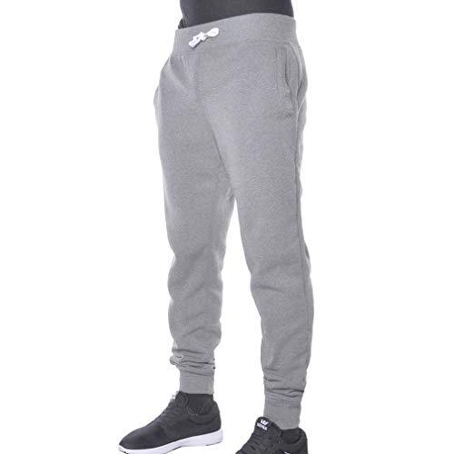 juqilu Männer Gym Jogger Jogginghose Trainingsanzug Jogginghose Laufhose mit Taschen Outdoorhose Hellgrau L