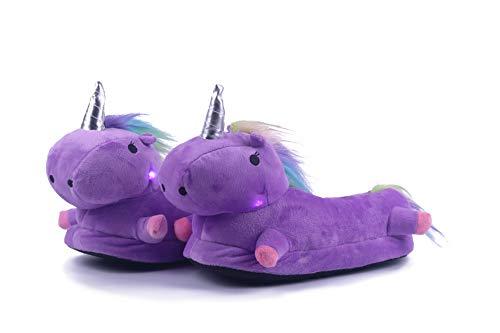 Kauson Zapatillas de Estar por Casa de Mujer Niños Unicornio Felpa Suave Zapatos Animales Felpa LED Luminoso Calentar Invierno de Cálido Pantuflas Animados Dibujos Edad 3-6