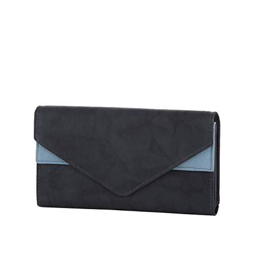 HJP Damen Geldbörse mit extra großen vielen Fächer | aus echtem Leder | Portemonnaie mit Überschlag in versch. Farben (blau)