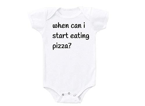¿Cuándo Puedo Empezar a Comer Pizza? Humor Love Christmas - Body Unisex para bebé Blanco Blanco 2 Mes