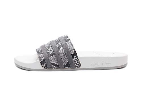 adidas Adilette - Chanclas de baño, sandalias, color blanco y gris, diseño de serpiente, color Blanco, talla 38 EU