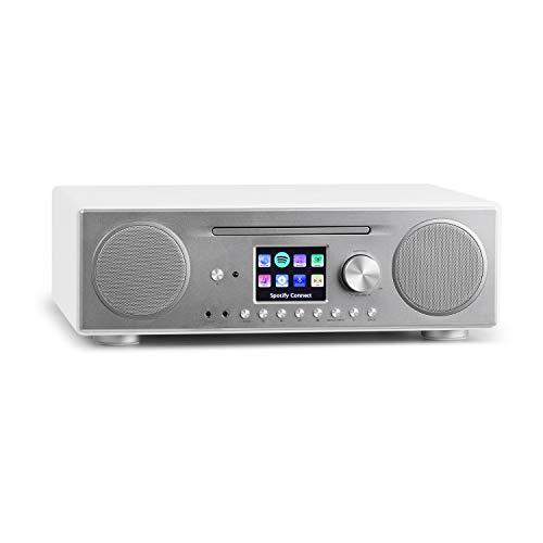 auna Connect CD Radio de Internet - Reproductor de CD-MP3 , Dispositivo Digital Dab/Dab+ , Interfaz WLAN , Spotify Connect , Bluetooth , Sintonizador de Radio FM con RDS , AUX , USB , Blanco