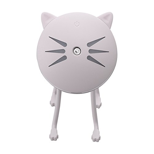 VORCOOL LED Mini Humidificador de Aroma Portátil USB Purificador de Aire de Gato (Rosa)