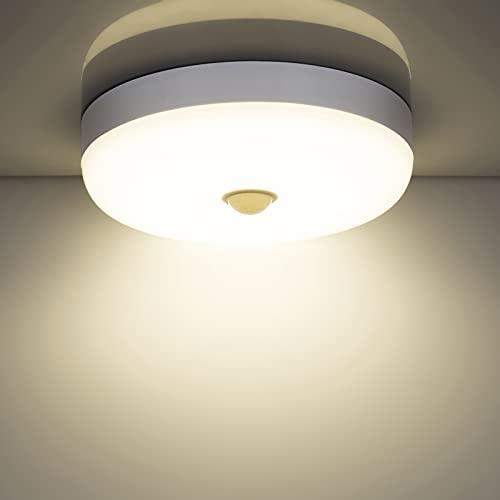 Combuh Plafones LED con sensor de movimiento, 15w 1500LM 4000K blanco natural Moderna redondo lampara de techo con detector, impermeabl IP56 luz led para habitacion balcón salon cocina baño