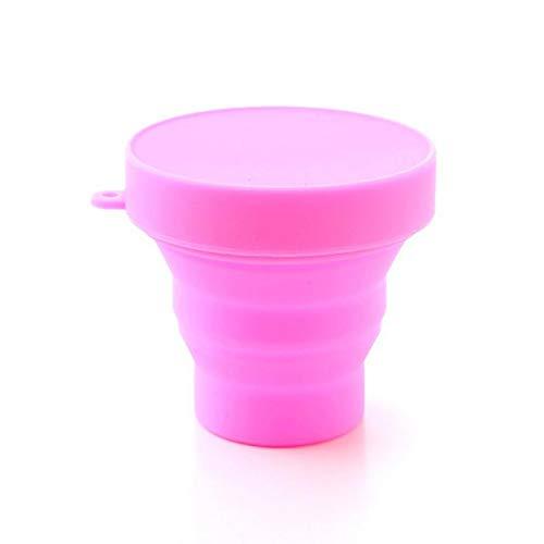 Huixindd Taza de Enjuague bucal Plegable Herramienta de Viaje al Aire Libre Taza de Bebidas y platillo 1 Pieza de Color sólido portátil de Silicona de Agua de Color (Capacidade : 1 PC, Cor : Pink)