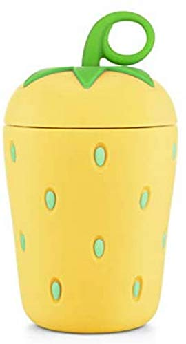 Yinitoo Cute Strawberry Glass Water Bottle Double Wall Borosilicate 300 ml Easy to Carry Suitable for Gifts and Presents (Yellow)