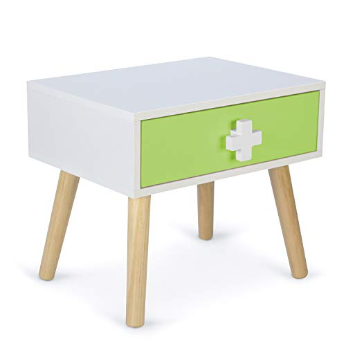 Homestyle4u 1900, Nachttisch für Kinder, Nachtschrank Nachtkommode 1 Schublade, Weiß Grün