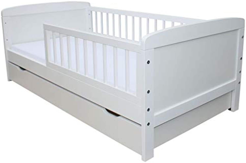 Micoland Kinderbett Juniorbett 140x70cm mit Matratze und Schublade Weiss
