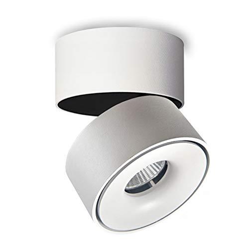 JVS Aufbauleuchte Aufbaustrahler Deckenleuchte Aufputz MONAKO LED 10W Warmweiß 230V IP20 rund weiss schwenkbar Strahler Deckenlampe Aufbau-lampe Downlight aus Aluminium - eingebaute Led-Lampen