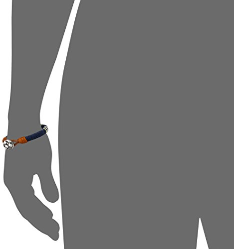 Trendy Mens Navy Blue Medallion Leather Bracelet Cuff