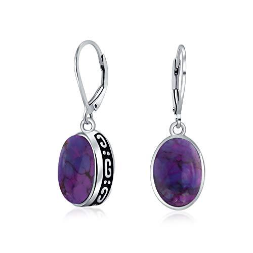 Bali Style 3CT Oval Stabilized Purple Turquoise Gemstone Bezel Dangle Leverback Earrings For Women 925 Sterling Silver