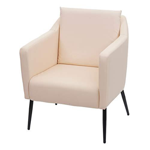 Mendler Lounge-Sessel HWC-H93a, Sessel Cocktailsessel Relaxsessel - Kunstleder Creme-beige