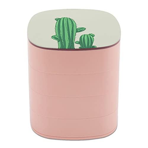 Rotar la caja de joyería Imprimir espectaculares grandes plantas de cactus de diseño multicapa caja organizadora de joyas con espejo para mujeres niñas y niños