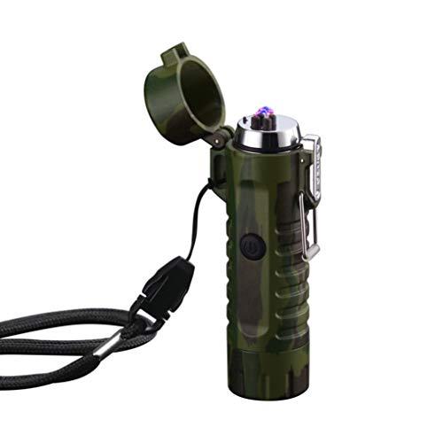 GuDoQi Mechero Eléctrico USB Doble Arco Encendedor Electronic con Linterna y indicador de Carga Waterproof y a Prueba de Viento USB Recargable para Vela cigarro Campamento Exterior