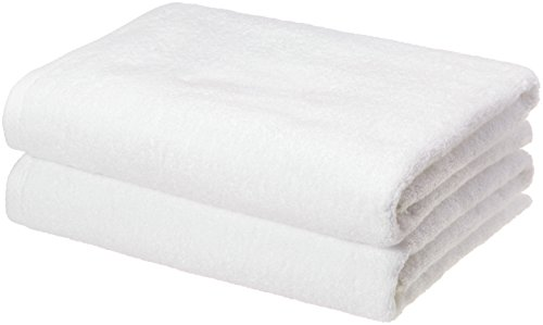 AmazonBasics QuickDry Luxurious Soft 100% Cotton Towels White  Set of 2 Bath Towels