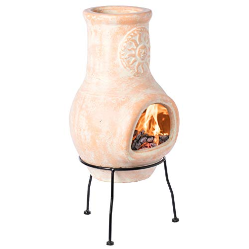 Vintiquewise QI003973 Stand Outdoor Clay Chiminea Sun Design Charcoal...