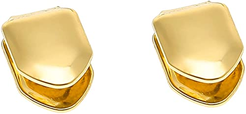 Gold Plated Single Tooth Cap Hip Hop Teeth Plain Grillz Caps Top Bottom Dental Grill For Men Hip Hop Golden (2Pcs)