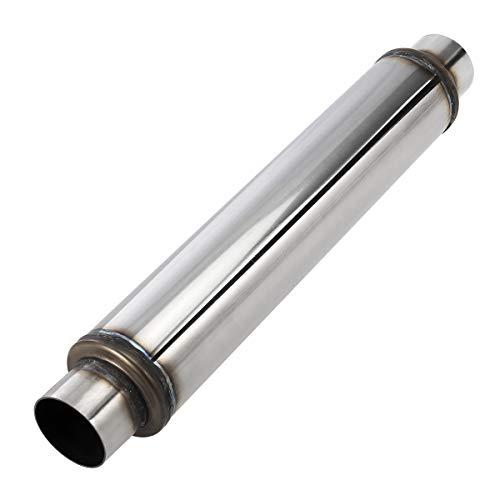 Upower 2.5 Inch Inlet Exhaust Muffler 2 1/2' Resonator Muffler 3.5' Round 18' Body Length 22' Overall Length Aluminized Moderate Sound Universal Exhaust Muffler Resonator