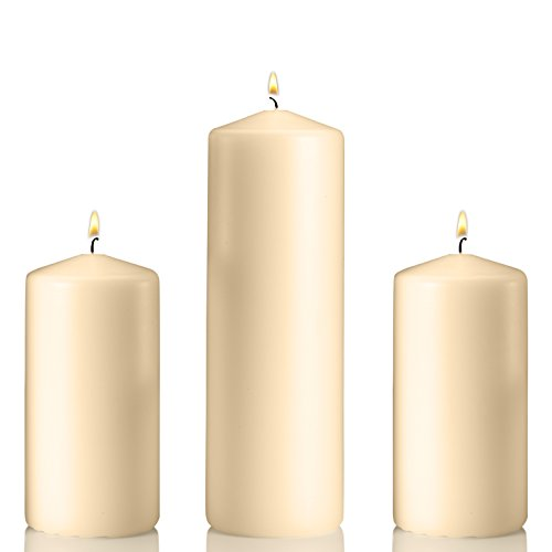 Set of 3 Unscented Pillar Candles