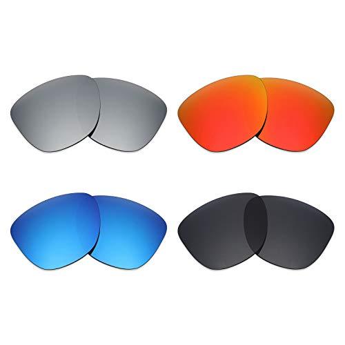 MRY 4pares polarizadas lentes de repuesto para Oakley Frogskins LX sunglasses-stealth negro/fuego rojo/hielo azul/plata titanio