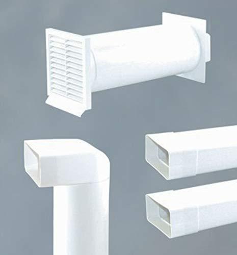 Abluftset 150 mm Mauerkasten rund mit Rechteckanschluss und Rückstauklappe 2x Flachkanal 1m sowie Umlenkstück von flach auf rund Abluft Küche Dunstabzug
