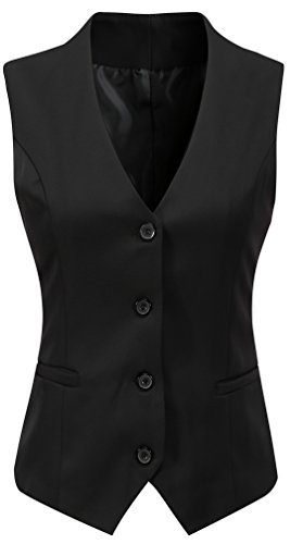 Foucome Women's Formal Regular Fitted Business Dress Suits Button Down Vest Waistcoat (Black, Large)