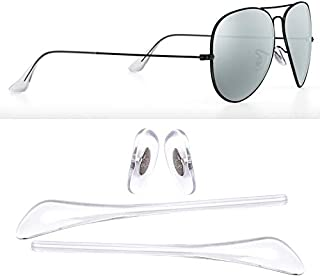 HEYDEFO Replacement Temple Tips Nose Pads for Ray-Ban Aviator RB3025 3026 Sunglasses Repair Kits (Clear),Bonus Sunglasses Bag