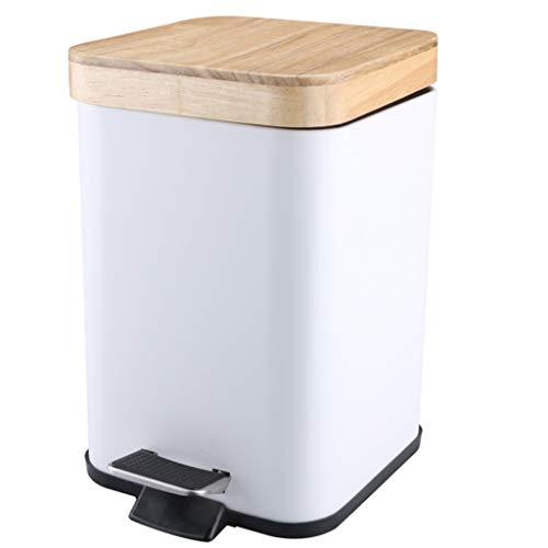 SMEJS Cubo cosmético con Pedal 3L con Tapa de bambú Bote de Basura de baño con Cierre Suave Pequeño Bote de Basura Blanco