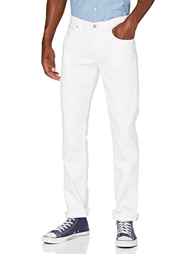 7 For All Mankind Slimmy Jean Droit, Ecru (White 0wi), W32/L34 (Size: 32) Homme
